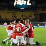Jugadores celebran y dan gracias tras primer gol ante Junior
