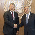 Secretario general de la ONU, Antonio Guterres y el Presidente de Colombia  Iván Duque Márquez