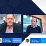 Reunión virtual del presidente de la DIMAYOR, Fernando Jaramillo, presidente de la Federación Colombiana de Fútbol, Ramón Jesurun, ministro de deporte, Ernesto Lucena y el ministro de salud, Fernando Ruiz