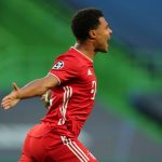 Serge Gnabry del Bayern Munich, celebra el primer gol, en la derrota 3-0 Al Lyon. Miguel A. Lopes/Pool vía REUTERS