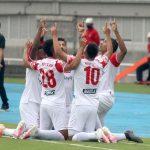 Jugadores de Independiente santa Fe celebran Gol del Triunfo ante el Deportivo Pereira