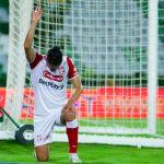 Kelvin Osorio de santa fe celebra el primer gola de su equipo durante el partido entre Cúcuta Deportivo y el Independiente Santa Fe por la fecha 11 de la Liga BetPlay DIMAYOR I 2020 Foto: VizzorImage / Ricardo Bejarano / Cont