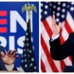 El Candidato presidencial demócrata Joe Biden y el presidente de Estados Unidos, Donald Trump, hablando sobre las elecciones presidenciales de Estados Unidos. REUTERS/Kevin Lamarque/Carlos Barría