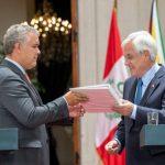 Iván Duque recibe de manos de Sebastián Piñera la dirección de Prosur.Foto Presidencia
