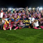 Las jugadoras de Santa Fe celebran el título de la Liga femenina del 2020.Foto: VizzorImage / Luis Ramirez / Staff.