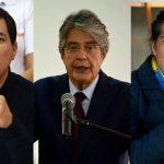 Candidatos favoritos en las encuestas a la presidencia de Ecuador, Andrés Arauz, Guillermo Lasso y Yaku Pérez,