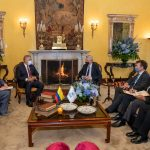 El Presidente Iván Duque Márquez se reunió este lunes en el Palacio de San Carlos, sede de la Cancillería, con el Alto Comisionado de las Naciones Unidas para los Refugiados (Acnur), Filippo Grandi.Foto Presidencia