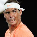 El tenista español Rafael Nadal reacciona durante su partido de cuartos de final del Abierto de Australia contra el griego Stefanos Tsitsipas en Melbourne Park, Melbourne, Australia. 17 de febrero, 2021. REUTERS/Jaimi Joy