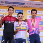 Podio Nacional de ruta 2020 Egan Bernal, Sergio Higuita, Daniel Martínez