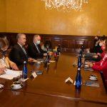 La delegación de la CIDH liderada por su presidenta, Antonia Urrejola se reunió con el Presidente Iván Duque quien dio la bienvenida a la visita de trabajo donde se mantuvo un diálogo abierto sobre la situación de DDHH en el contexto de las protestas. Foto CIDH