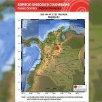 Sismo de magnitud 5.0 en la mañana de este lunes festivo, 14 de junio. Foto: Servicio Geológico Colombiano