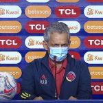 Reinaldo Rueda técnico de Colombia en rueda de prensa en la antesala del partido con Perú