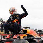 Max Verstappen de Red Bull celebra luego de ganar el Gran Premio de Francia de la Fórmula 1 en el Circuito Paul Ricard de Le Castellet, Francia. 20 de junio, 2021. Pool via REUTERS/Nicolas Tucat