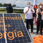 El Presidente Iván Duque sancionó este sábado la Ley de Transición Energética y descubrió uno de los paneles de la Granja Solar Celsia El Carmelo, situada en el municipio vallecaucano de Candelaria.