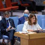 Marta Lucía Ramírez, Vicepresidenta y Ministra de Relaciones Exteriores de la República de Colombia, se dirige a la reunión del Consejo de Seguridad sobre la situación en Colombia. El Consejo escucha un Informe del Secretario General sobre la Misión de Verificación de las Naciones Unidas en Colombia.