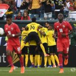 Jugadores de Jamaica celebrando un gol en Copa Oro. Estadio Lincoln Financial Field, Filadelfia, Pensilvania, EEUU. 30 de junio de 2019. CREDITO OBLIGADO USA TODAY/James Lang