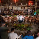 Durante la PreCOP de Biodiversidad, que se llevó a cabo en este lunes en Leticia, el Presidente Iván Duque se reunió con comunidades ancestrales de la Amazonía colombiana, que acogieron la reunión en su maloca.Leticia, Amazonas.Foto – PRESIDENCIA