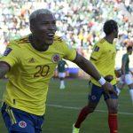 Roger Martínez de Colombia celebra el gol del empate ante Bolivia por las eliminatorias Suramericanas para Qatar 2022  Foto FCF