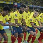 El delantero colombiano Miguel Ángel Borja celebra uno de sus dos goles en la victoria 3-1 de Colombia