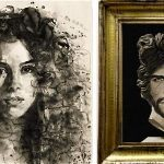 Los cuadros con los rostros de Shakira y Piqué vendidos en la subasta en Londres.