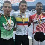Juan Diego Orlas (Oro), Duván Urrego (Plata) y Kevin Quintero (Bronce) en Velocidad Juvenil (Fedeciclismo)