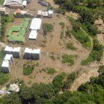 Vista aérea de la zona donde se produjo el desbordamiento de la quebrada La Liboriana, que causó la tragedia en Salgar, Antioquia, y fue sobrevolada por el Presidente Santos