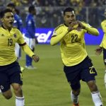 Jeison Murillo celebra el primer tanto de Colombia contra Brasil