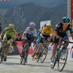 Tour de France 2015 - 22/07/2015 - 17ème Etape - Digne les Bains / Pra Loup - 161km - Richie PORTE (SKY), Christopher FROOME (SKY), Nairo QUINTANA (MOV), Alberto CONTADOR (TCS) et Vicenzo NIBALI (AST) au sommet du col d'Allos.