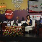 David Londoño, director Corporativo de Mercadeo de la firma Claro; Baltazar Medina, presidente del COC; María Elisa Berenguer, la embajadora de Brasil, en Colombia y Ciro Solano Hurtado, primer Vicepresidente y Jefe de Misión a los Juegos Olímpicos, durante la presentación de 'El Abanderado Claro' a Río 2016.