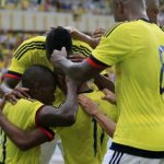 Los jugadores de la selección Colombia Sub-23 festejan el gol de Harold Preciado ante Honduras.