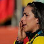 Lágrimas de felicidad de Mariana Pajón, en lo más alto del podio de Río 2016.