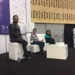 Tatiana Duplat Ayala, directora de Señal Memoria, Alexandra Falla, directora de la FPFC y Juan Camilo Rincón, autor del libro Nuestra memoria6