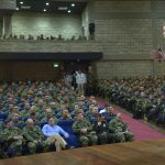 Foto: Juan Pablo Bello - SIG El Presidente Juan Manuel Santos este sábado con las tropas de la Base de Entrenamiento de Infantería de Marina en Coveñas.
