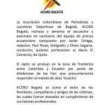 Acord Bogotá, rechaza el vil asesinato de Periodistas ecuatorianos