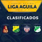 equipos clasificados a los cuartos de final Liga Aguila I-2018