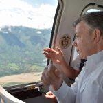 El Presidente Santos realizó este martes un sobrevuelo en helicóptero por los municipios ubicados en la zona de influencia de Hidroituango en Antioquia.