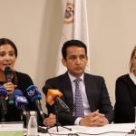 Ministra de Transporte, Ángela María Orozco (Izq.), alcalde de Villavicencio, Wilmar Barbosa (Centro) y la Gobernadora de Meta, Marcela Amaya García.