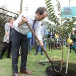 El director del Departamento Administrativo, Ernesto Lucena, lideró una actividad de plantación de árboles en el Centro de Alto Rendimiento de Bogotá