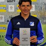 Roberto Ovelar fue la figura del partido al marcar tres goles en el partido Millonarios - Magdalena