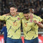 James y Falcao Celebran primer Gol de laq Era Queiroz